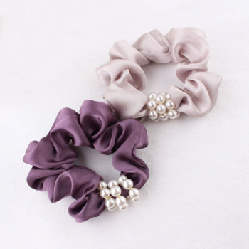 Purple/champagne satin elastic hair scrunchie with pearl