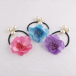 Satin flower elastic ponytail holder with pearl