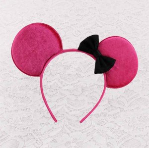Disney pink mickey ears hair band with bow for child