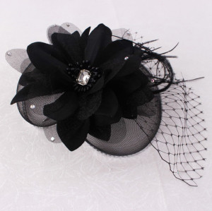 Mesh feather birdcage flowers fascinators bridal headpiece