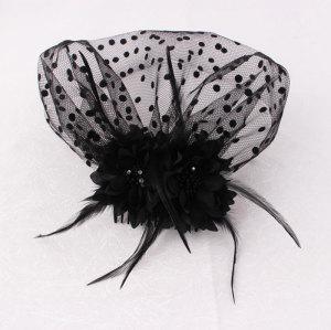 Black feather birdcage veil hair comb uk