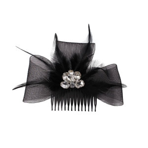 Black mesh feather fascinator bow comb for women