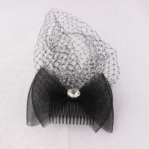 Black mesh fascinator bow comb with birdcage veils