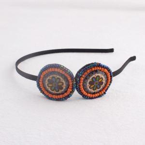Multicoloured ceramic boho beaded hair band