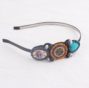 Multicoloured bohemian faience seed bead hair band