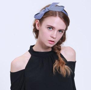 Urban denim jean large bow tie bowknot hair band