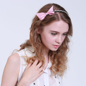 Pink ribbon bow tie bowknot alice band uk