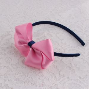Plained pink big ribbon bow alice band US