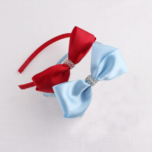 Plained red large ribbon bow alice band kids