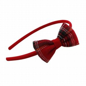 Supply gingham bow hair band for girl