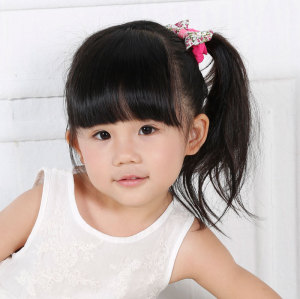 Floral cotton glitter bow hair scrunchie wholesale for teen year-old kids children girl