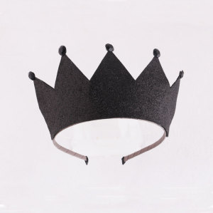 Black glitter princess crown hair band