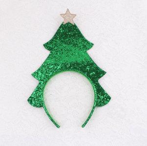 Wholesale friendly glitter christmas tree star headband for girls Christmas gift