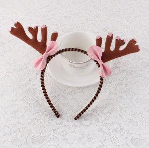 Felt christmas reindeer headband antlers with bow supplier