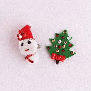 Wholesale felt Christmas snowman hair clip set