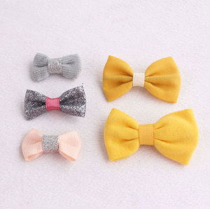 Banana yellow glitter ribbon bow hair clip set for kids
