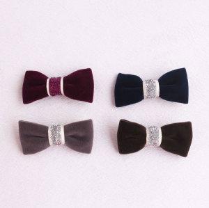Great mini velvet bow hair clip set for baby girl