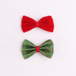 Wholesale red and green ribbon Christmas hair bow set