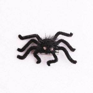 Creepy black flocking spider hair clip for Halloween brooch