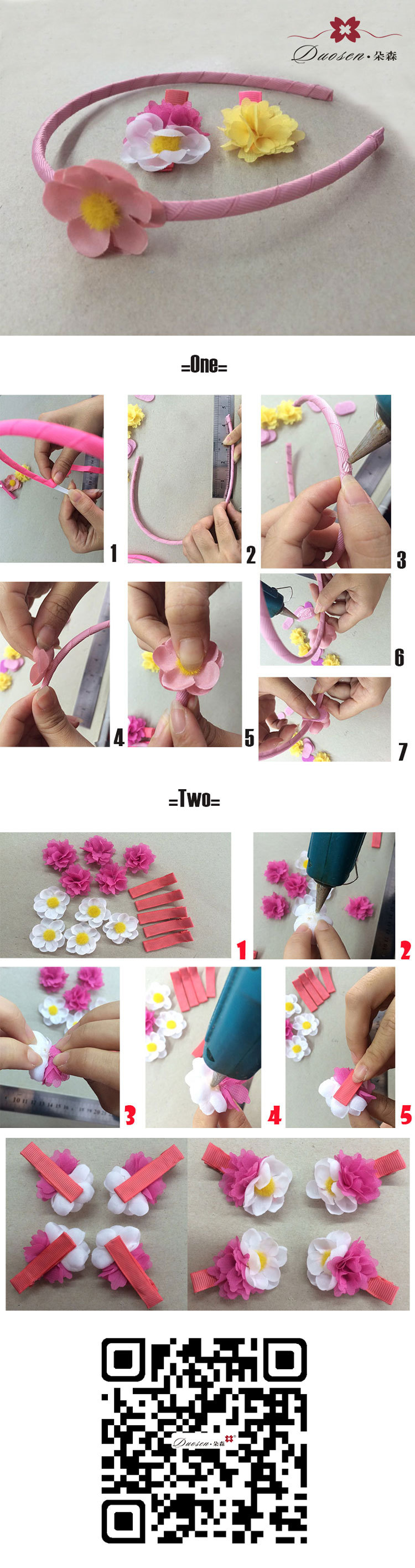 how to quickly make mini rose flower hair band set