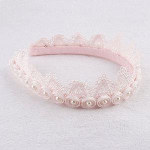 Custom pearl lace crown hair band baby crown