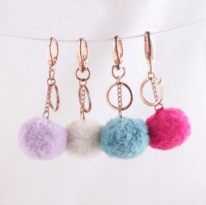 5cm Handbag key ring car key ring faux fur pompom keychain