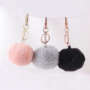 9cm rabbit fake fur pom pom keychain handbag key ring