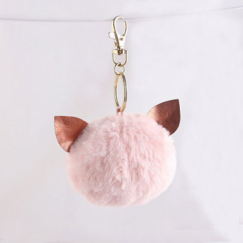 9cm colors soft animal ear large fur balls kitten keychain manufacturer