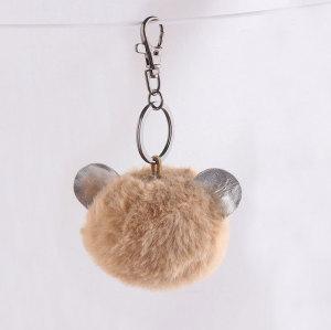 8cm bear ear handbag faux fur pom pom keychain China supplier