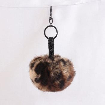 10cm leopard fur pom pom handbag keychains supply