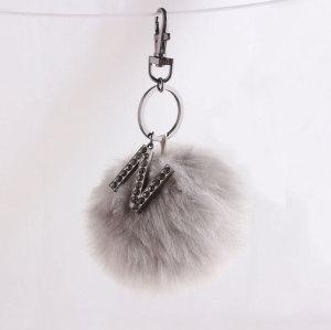 10cm logo high rabbit faux fur pom pom keychain wholesale