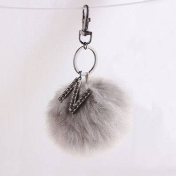 10cm logo high rabbit faux fur pom pom keychain wholesale