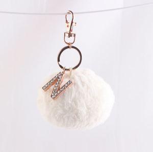 9cm White faux rabbit fluffy ball car keyring bag keychain