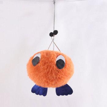 8cm Orange animal cute eye fur pom pom keychain