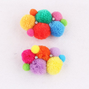 Multi color festival woolen pom pom hair clip for baby girl