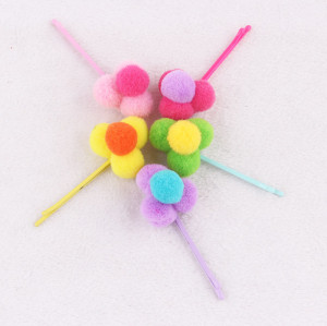 Lovely babies girl pom pom ball hair pin China supply