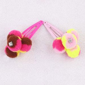 Cute babies girl pom pom ball snap hair clip