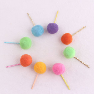 Sweet candy-colored pom pom ball hair pin for child