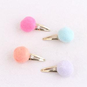 Kid's marshmallow pom pom ball snap hair clip