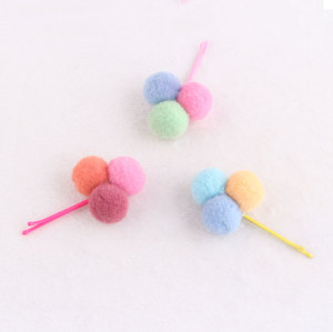 Wholesale baby sweet pom pom ball hairpin