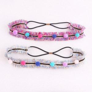 Multicolour pom pom headbands