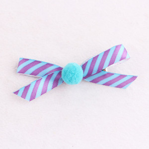 New stripe ribbon bow hair clip with pom pom ball