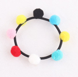 Mini pom poms elastic hair bobble ponytail hand