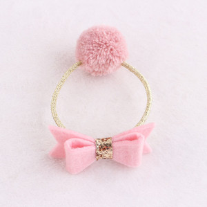 Sweet girl pink Pom-Pom hair bands with bow