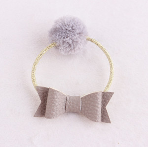 Handmade lovely grey Pom-Pom hair ties with leather bow