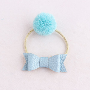 Unique ocean blue Pom-Pom hair tie band with leather bow