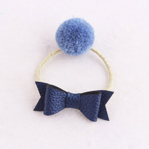 Children blue pom pom ponytail holder with leather bow