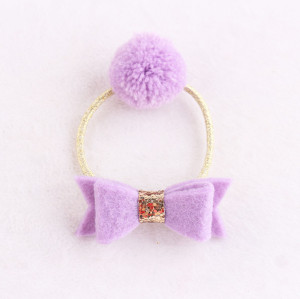 Wistaria purple kids Pom-Pom hair tie holder with bow