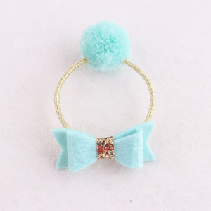 Child green Pom-Pom hair rope tie with bow