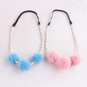 Fashion yarn pom pom headband for girl